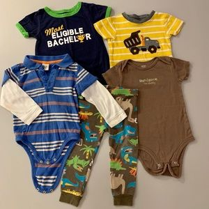 18 MO. 5 pc Boy bundle.One teeonesies- pants